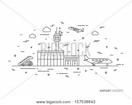 Airport terminal plane transportation linear vector illustration. Airport creative graphic concept. Airport graphic design.
