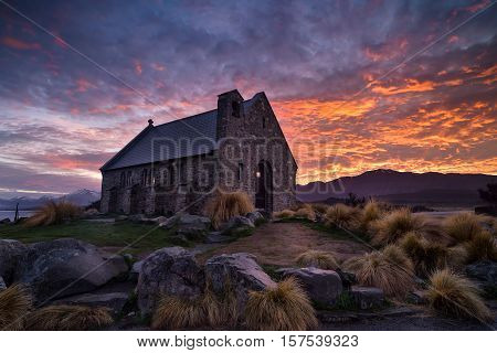 Sunrise at Church of the Good Shepherd built since 1935 Lake Tekapo New Zealand