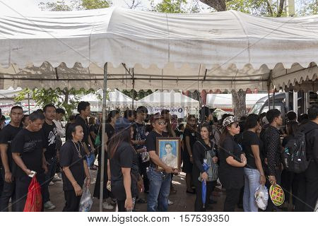 BANGKOK THAILAND - OCT 23 : The mourners in queue at sanam luang while the funeral of king Bhumibol Adulyadej in Grand Palace on october 23 2016