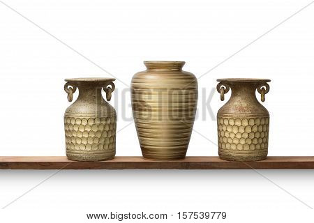 pottery clay and ceramic vase decorate interior isolated on white