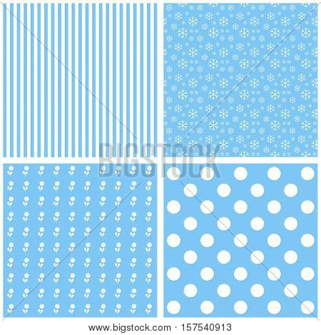 set of blue patterns. Vector baby image.