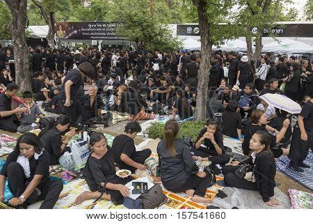 BANGKOK THAILAND - OCT 29 : The massive group of mourners in sanam luang while the funeral of king Bhumibol Adulyadej in Grand Palace on october 29 2016