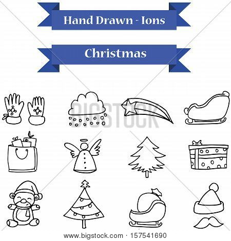 Illustration of Christmas icons vector art stock