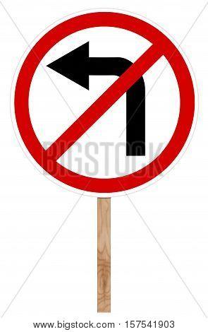 Prohibitory Traffic Sign - Left Turn