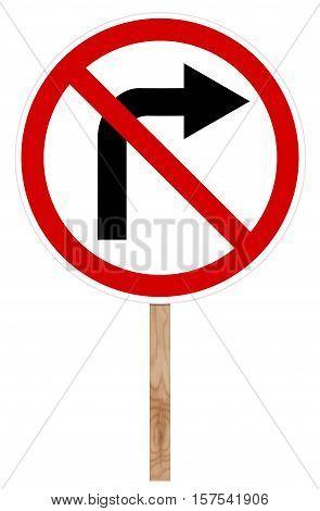 Prohibitory Traffic Sign - Right Turn
