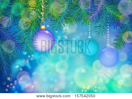 Abstract colorful vector Christmas and New Year background with Christmas tree branches, Xmas ornaments