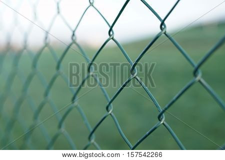 Wire mesh fence on a private land