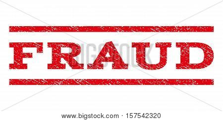 Fraud watermark stamp. Text caption between parallel lines with grunge design style. Rubber seal stamp with unclean texture. Vector red color ink imprint on a white background.