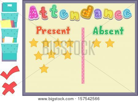 Colorful Illustration Featuring an Attendance Board Listing Who is Present and Who is Absent