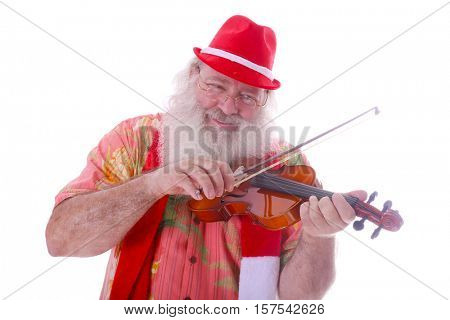 Hipster Santa Claus plays his Violin. Isolated on white with room for your text.
