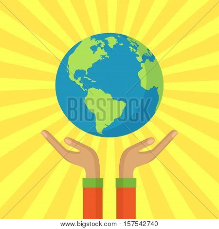Human hands holding floating globe.Save the planet consept. Flat style vector isolated illustration