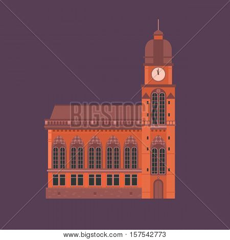 Europe catholic church vector illustration. Roman cathedral with dome and clock tower. Tourist religious landmark for maps and websites. Flat design cathedral isolated.