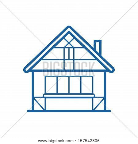 Winter chalet thin line icon. Traditional half-timbered house vector illustration in outline design. Snowy cottage or hunting lodge building pictogram for web and devices.