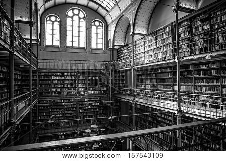AMSTERDAM NETHERLANDS - MARCH 15 2016: Old library of Rijksmuseum Amsterdam. Library is the largest public art history research place in Holland on March 15 2016 in Amsterdam - Netherland.