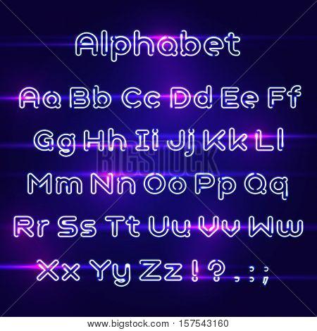 Neon Light Alphabet Vector Font. Realistic neon alphabet. Type letters neon style.