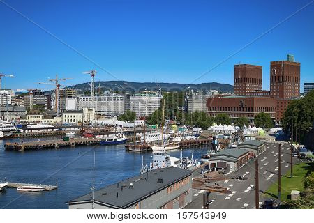 View of panorama on Oslo Harbour and Oslo City Hall in Oslo Norway