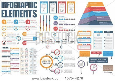 Infographic Elements - process infographics, workflow, diagrams, timeline, infographics steps and options pyramid chart, table, text box, flowchart design elements, vector eps10 illustration