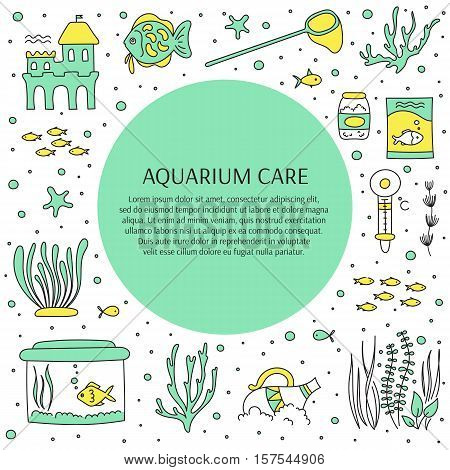 Aquarium care. Vector square banner template. Fish and decoration, water tanks, plants and special equipment. For posters, cards, brochures and souvenirs, invitations, website and pet shop designs.