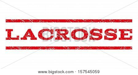 Lacrosse watermark stamp. Text caption between parallel lines with grunge design style. Rubber seal stamp with scratched texture. Vector red color ink imprint on a white background.