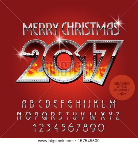 Vector flame Merry Christmas 2017 greeting card with set of letters, symbols and numbers. File contains graphic styles