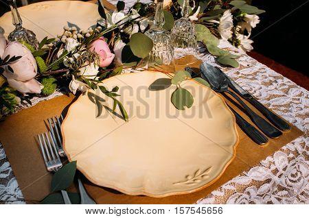 Restaurant Serving Catering Banquet Rustic Wedding Dinner Celebration Luxury Concept