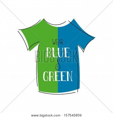 Vector hand drawn lettering on clean white background. Donate Life Awareness. Wear blue and green. Organ transplantation, healthcare concept. For card, logo, badge, t-shirt print, banner design.