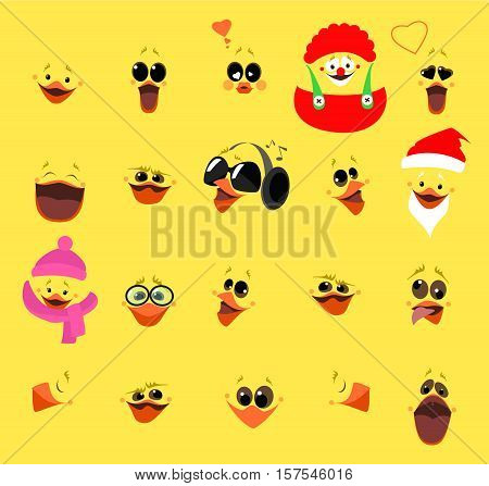 Emotions. A large set of emotions chicken fase. Cartoon characters. Vector