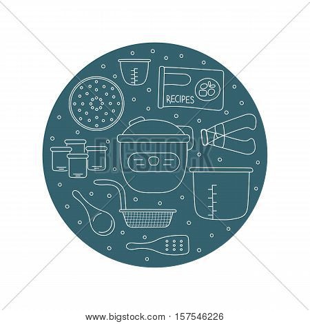 Pressure cookers and accessories. Vector card template with hand drawn elements. Clean doodle background. For banners and posters, cards, brochures and flyers, souvenirs, invitations, website designs.