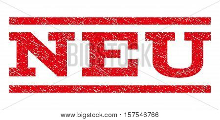Neu watermark stamp. Text caption between parallel lines with grunge design style. Rubber seal stamp with unclean texture. Vector red color ink imprint on a white background.