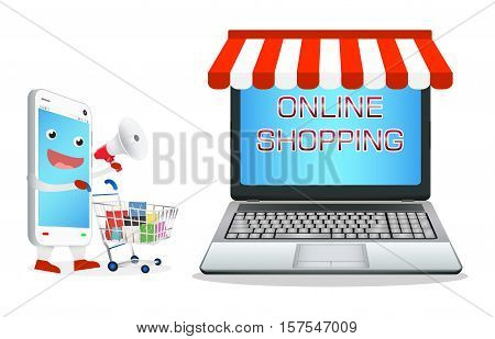 smartphone cartoon shopping at laptop online store