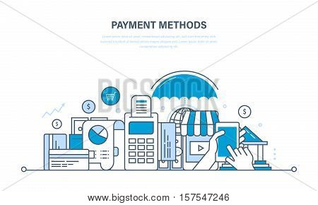 Methods and forms of payment, payment cards and systems, modern technology online payment, security of financial transactions. Illustration thin line design of vector doodles, infographics elements.
