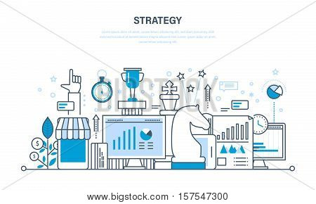 Strategy and planning, analysis and control, time management and project management, statistics and statistical analysis. Illustration thin line design of vector doodles, infographics elements.