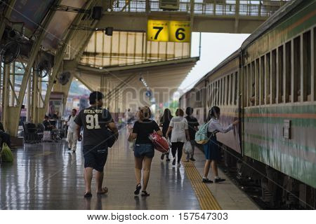 Bangkok, Thailand - November 19, 2016 : around Bangkok Railway Station or Hua Lamphong Station is the main railway station in Bangkok, Thailand.
