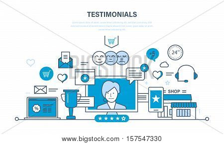 System reviews, specifications, letters of recommendation and reports, ratings and evaluation, communications, support. Illustration thin line design of vector doodles, infographics elements.