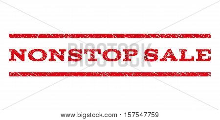 Nonstop Sale watermark stamp. Text tag between parallel lines with grunge design style. Rubber seal stamp with dust texture. Vector red color ink imprint on a white background.