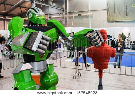 Moscow Russia November 4 2016: The 4rd International Exhibition of Robotics and advanced technologies Robotics Expo in Moscow. Exposure robots and new technologies