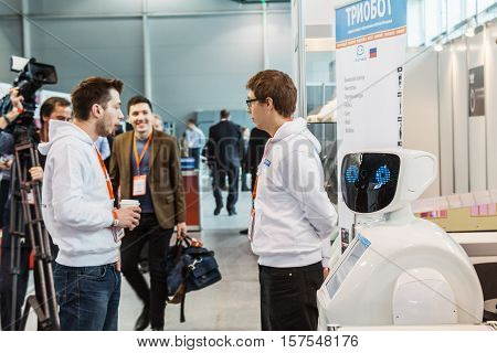Moscow Russia November 4 2016: The 4rd International Exhibition of Robotics and advanced technologies Robotics Expo in Moscow.Focus on the eyes robot soft focus