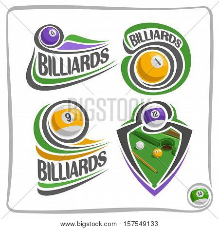 Vector abstract logo Billiards Ball, sign gamble pool club, simple line striped snooker ball on green felt billiards table with cue, isolated fun games icon on white, flat design billiard blazon cup.