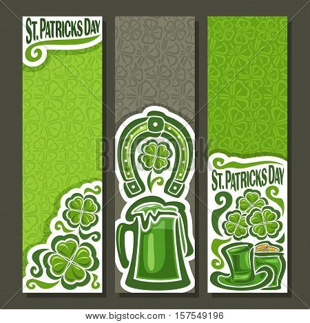 Vector abstract vertical Banners for St. Patrick's Day on Shamrock background, greeting Clover banner for congratulation text, green clover symbol saint patrick day on shamrock leaf pattern texture.