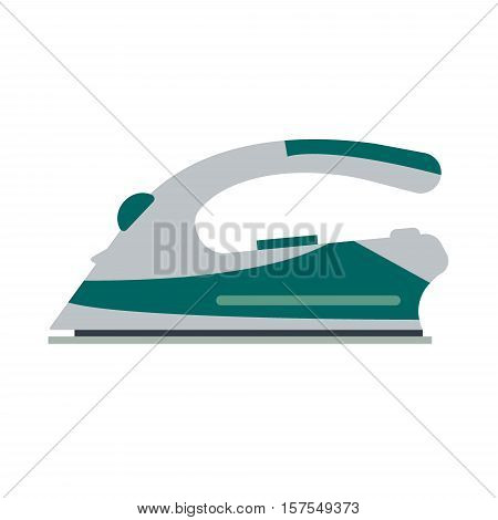 Blue iron isolated on white background - vector illustration. Flat icon logo electrical equipment ironing electric appliance home device housework tool