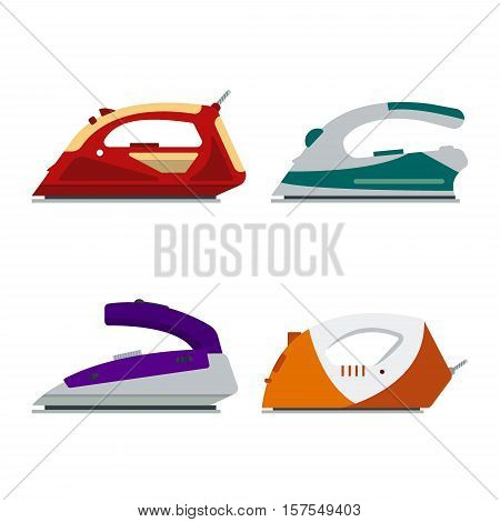 Set of colorful irons isolated on white background - vector illustration. Flat icon logo electrical equipment ironing electric appliance home device housework tool
