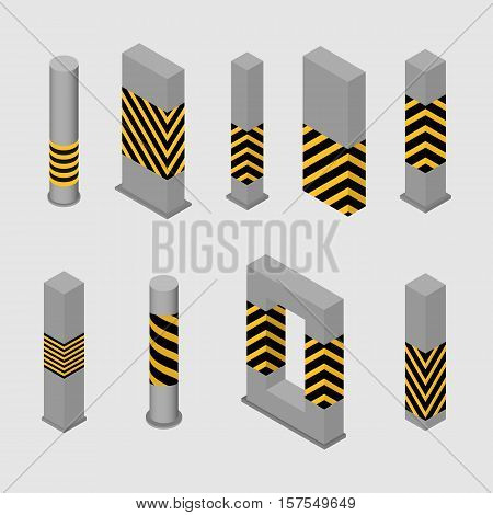 Set of different shape columns and pillars in an isometric style isolated on white background. Design elements for building and architecture vector illustration.