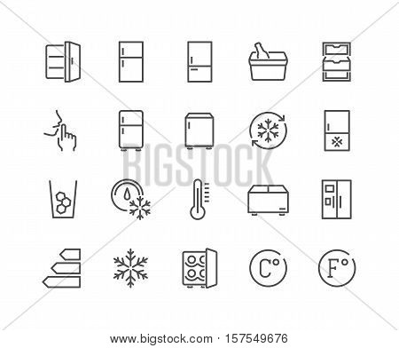 Simple Set of Fridge Related Vector Line Icons. Contains such Icons as Portable Fridge, Ice Machine, Silence and more. Editable Stroke. 48x48 Pixel Perfect.