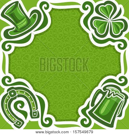 Vector abstract poster for St. Patrick's Day on Shamrock background, greeting Clover flyer for congratulation title text, hat saint patrick day on shamrock leaf pattern ornament, clover foliage lawn.