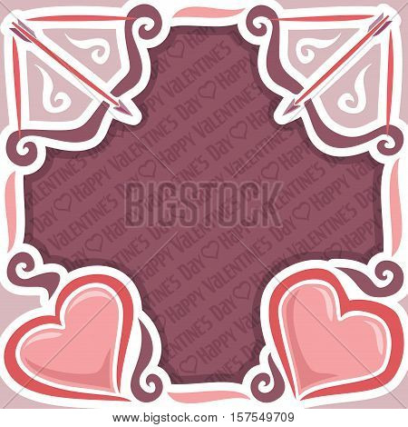 Vector abstract poster for Happy Valentine's Day, purple frame: bow and arrow, greeting valentines card border with simple contour heart, banner for congratulation text holiday lovers saint valentine.