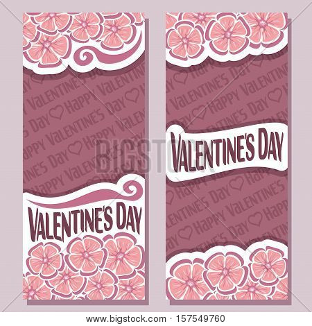 Vector abstract banners for Happy Valentine's Day, purple flyer: floral background, pink greeting valentines card contour flower pattern, vertical banner for romantic text holiday lovers st. valentine