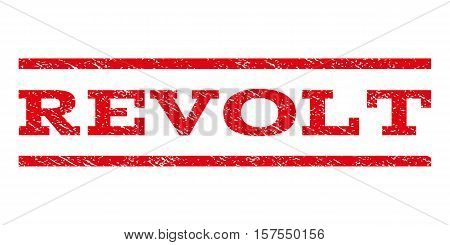 Revolt watermark stamp. Text tag between parallel lines with grunge design style. Rubber seal stamp with dirty texture. Vector red color ink imprint on a white background.