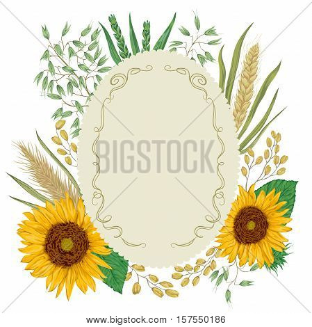 Vintage label with cereals set. Sunflower, barley, wheat, rye, rice and oat. Collection decorative floral design elements. Isolated elements. Vector illustration in watercolor style.