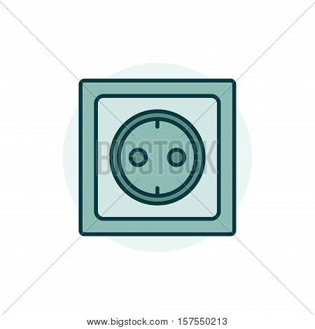 Power socket colorful icon. Vector flat electric household socket symbol or logo element