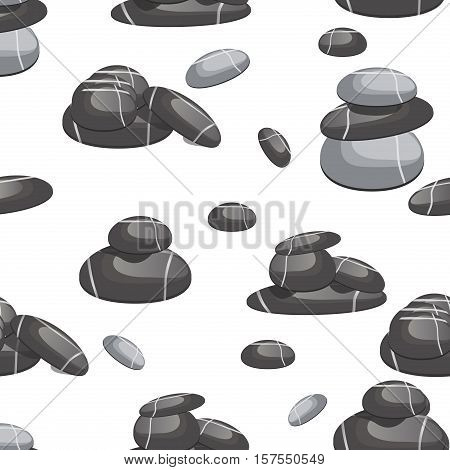 Spa stones of various shapes and prebbly color seamless pattern vector background. Relax spa stone mineral texture abstract seamless pattern. Natural sea spa rock material spa stone wallpaper surface.